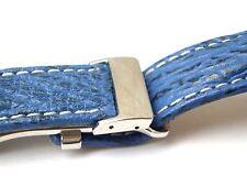 HAIBAND blau 24/20  (110/90) mit neutraler Faltschließe für Breitling-Uhren