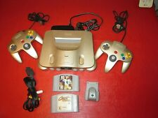 Nintendo 64 Gold Control Deck Console-2 Controllers-Rumble Pak-2 Games-Tested
