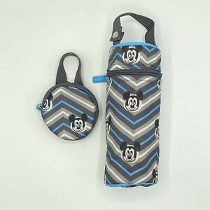 Baby Mickey Mouse Insulated Bottle & Pacifier Tote Gray Blue Chevron Zig Zag