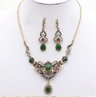Women Turkish Necklace Earrings Jewelry Sets Green Stone Islamic Vintage Fashion