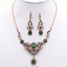 Women Turkish Necklace Earrings Jewelry Sets Green Stone Islamic Vintage Fashion