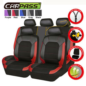 Universal Car Seat Covers Luxury Leather Mesh Black Red Airbag 5 Seats For SUV