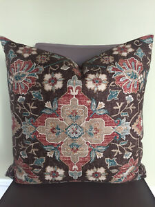 Decorative Pillow Cover Brown Beige Blue Cream Red Moroccan Pattern