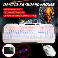Gaming Keyboard + Mouse + Pad LED Backlit Mute Ergonomic Wired Mechanical White