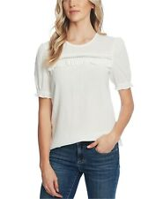 CeCe Womens Ruffle-Trim Cotton Eyelet Top, NATURAL, Size A OR SMALL v8UH