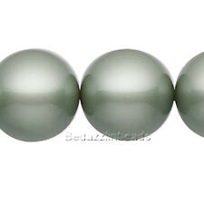 Lot of 10 Powder Green 8mm Round Swarovski Crystal Glass Pearl Beads (5810)