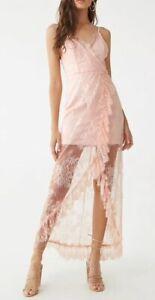 Light Pink Lace Overlay Maxi Dress Sleeveless Tulip Hem Size L NEW