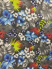 """Hawaiian Print Luau Floral Poly Cotton Fabric 60"""" Hawaii Tribal (2 Yard) Hd"""