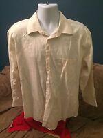 Pronto Uomo Non Iron Mens Dress Shirt  17 32 33 Ivory creme Non Iron 100% cotton