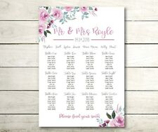A3 watercolour floral Wedding table seating plan (A2 also available)