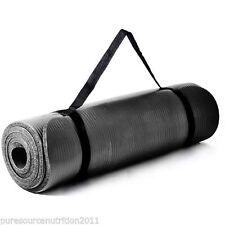 1.5cm Thick Black Yoga Mat  Exercise Workout Pilates Gym Mats Non Slip Sit Ups