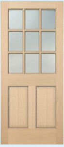 Exterior Hemlock Solid Stain Grade French Doors 9 Lite Over Bottom Raised Panels