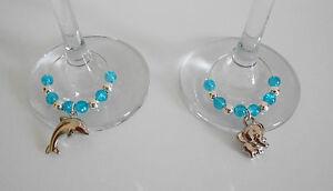 SET OF 2 WINE GLASS CHARMS PURPLE AQUA ORANGE OR PINK ELEPHANT & DOLPHIN GIFT