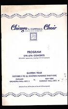 Chicago A Cappella Choir Program  Eastern Tour 1935