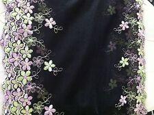 "4 yds  black  vintage   purple flower  lace 2 ways  No 19   size 7 """