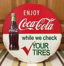 Coca Cola While We Check Your Tires Button Vintage Style Coke Soda Gas Oil