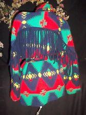 VTG INDIAN BLANKET SWEATER COAT TRIBAL SOUTHWESTERN NAVAJO FRINGE HIPPIE BOHO OS