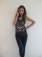 Guns N' Roses Skull Pistols Rock Punk T-Shirt Tank Top Vest Women Graphic Tee