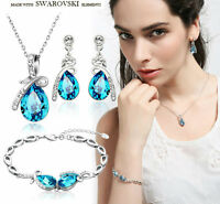 Made With Shiny Blue Swarovski Crystal Necklace Bracelet Earrings Jewellery Set