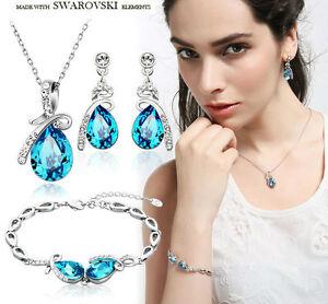 Blue Jewellery Set Necklace Bracelet Earrings Made With Shiny Swarovski Crystals