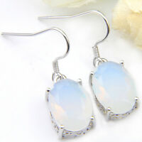 Holiday Jewelry Gift Oval Rainbow Moonstone Gemstone Silver Dangle Hook Earrings