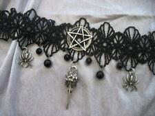 Pentacle Lace Necklace Halloween Horror Choker Bird Skull Gothic Necklace Silver