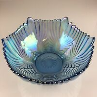 Fenton Glass Iridescent Bowl Blue Shell Scalloped Feathered Pattern