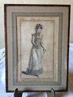 BELLE GRAVURE MODE FEMME COSTUME PARISIEN 1820 encadré sous verre édité en 1915