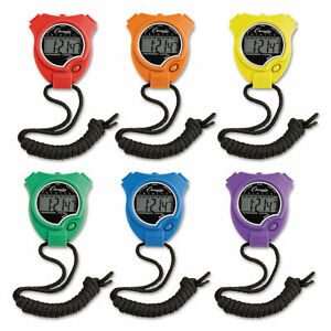 Champion Sports Water-Resistant Stopwatches 1/100 Second Assorted Colors 6/Set