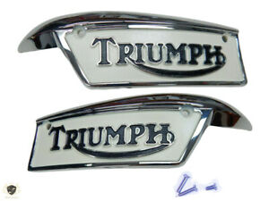 TRIUMPH T120 T140 T150  TANK RIGHT & LEFT +SCREWS WHITE  PAINTED BADGES |Fit For