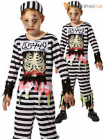 Boys Zombie Skeleton Prisoner Costume Convict Halloween Fancy Dress Kids Outfit