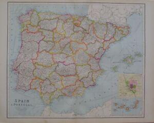 1933 MAP SPAIN & PORTUGAL MURCIA ALBACETE VALENCIA ALICANTE BALEARIC MADRID