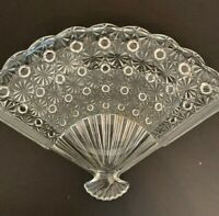 "Pressed Glass Fan Shaped Canape Plate Star Design 10 1/2"" x 7"" Appetizer"