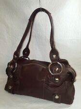 B. MAKOWSKY Smooth  Brown Genuine Leather Roomy Tote Hobo Shoulder Bag Handbag