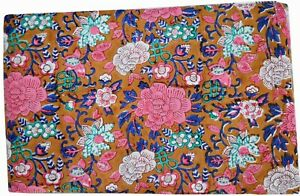 10 Yard Cotton Hand Block Floral Print Fabric Sanganeri Jaipur Crafts Fabric