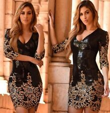 Abito cono ricamato Aderente Scollo Ballo Party Cerimonia Sequin Bodycon Dress S