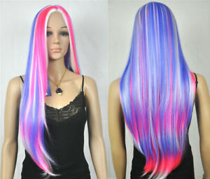 Multi-Color Red White Blue Long Straight Women Lady Cosplay Hair Wig + Wig Cap