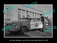 OLD LARGE HISTORIC PHOTO OF ANN ARBOR MICHIGAN, THE CHEVROLET POLICE CAR c1955