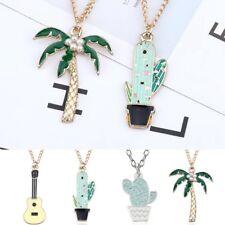 Cute Women Cartoon Enamel Cactus Necklace Pendants Circle Choker Chain Hot Gift