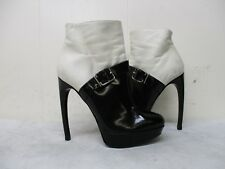 Mcqueen Italy Black White Leather Zip High Heel Ankle Boots Womens Size 35 EUR