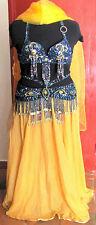 costume danse orientale bleu violet et jaune