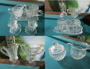 CREAMER CANDLEHOLDER CRYSTAL CUT SETS SEVERAL PIECES -PICK A SET
