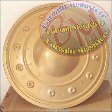 Medieval Buckler Shield Hand Forged Golden Steel Larp Drama Theater Movie Shield