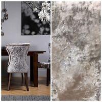 SWATCH- Designer Italian Crushed Velvet Chenille Upholstery Fabric - Silver Gray