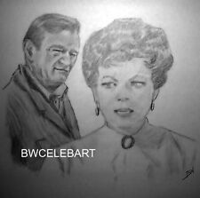 JOHN WAYNE MAUREEN O'HARA CELEBRITY REALISM PENCIL DRAWING McCLINTOCK