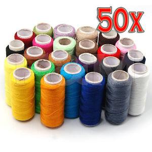 50 Spools Premium Quality Colour All Purpose 100% Pure Cotton Sewing Thread Reel