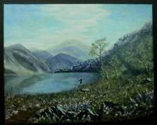 Fly Fishing Amateur Art Mountain Lake Oil on Canvas Signed 16X20