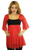 Red Lace Maternity Top Blouse Batwing Tunic 3/4 Long Sleeve Casual Babyshower