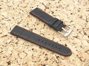 Genuine Leather QR Croc Grain Watch Strap 23mm Black by Watchgecko / Geckota