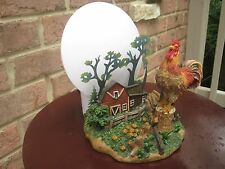 ROOSTER NIGHT LIGHT TABLE LAMP COUNTRY HOME ACCENT LAMP CHICKEN FARM SCENE